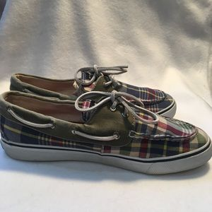 Sperry Plaid Preppy Canvas Plaid Lace Up Topsiders